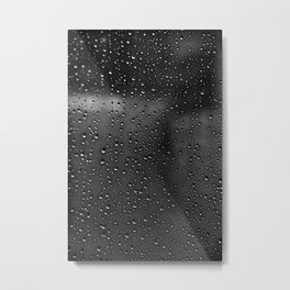 Black and White Rain Drops; Abstract Metal Print