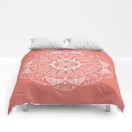 Living Coral Mandala-Pantone Color of the Year 2019 Comforters