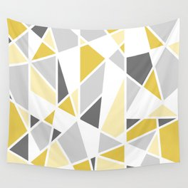 Geometric Pattern in yellow and gray Wall Tapestry