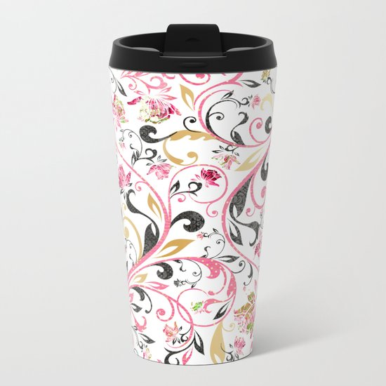Pink Roses Pattern 11 Metal Travel Mug