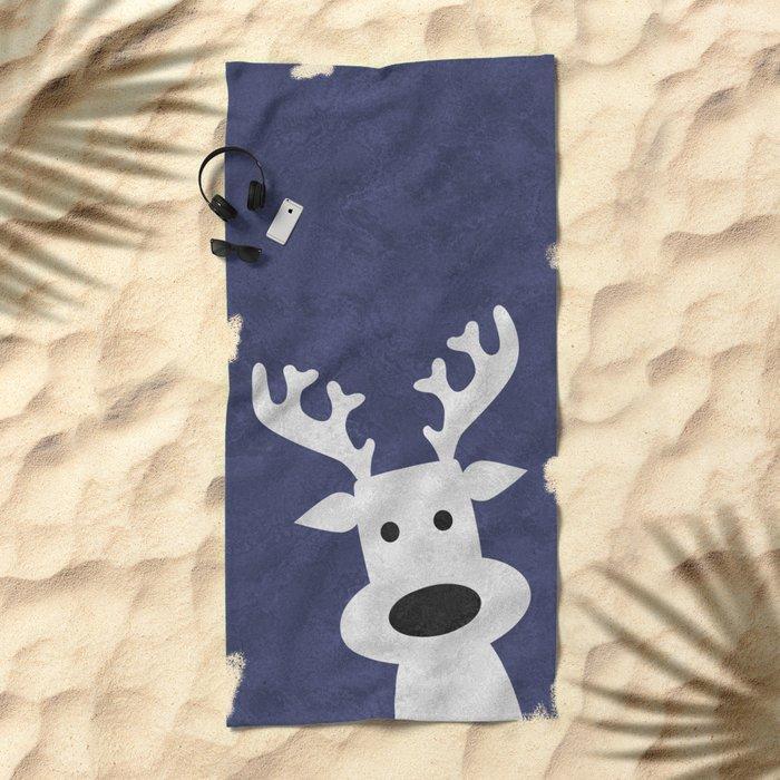 Christmas reindeer blue marble Beach Towel