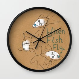 When Fish Fly Wall Clock