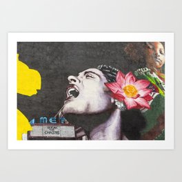 Break the Chains, Female Portrait, Primal Scream with Dahlia in her hair painting Art Print