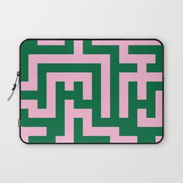 Cotton Candy Pink and Cadmium Green Labyrinth Laptop Sleeve