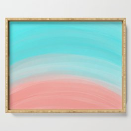 Artsy Modern Coral Blue Brushstroke Gradient Serving Tray