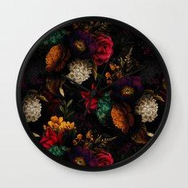 Midnight Hours Dark Vintage Flowers Garden Wall Clock