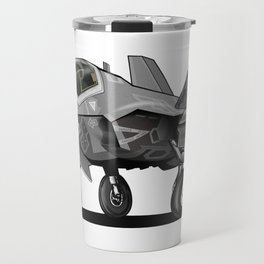 F35 Fighter Jet Airplane - F-35C Lightning II Joint Strike Fighter Cartoon Travel Mug