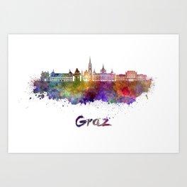 Graz skyline in watercolor Art Print