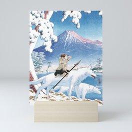 Mononoke and the wolves vintage japanese mashup Mini Art Print