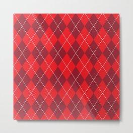 Traditional Red Burgundy Argyle Plaid Diamond Print Metal Print