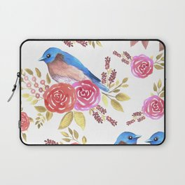 Eastern bluebird and roses in watercolor Laptop Sleeve
