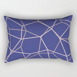 Blue Purple Geometric Architectural Pattern Rectangular Pillow