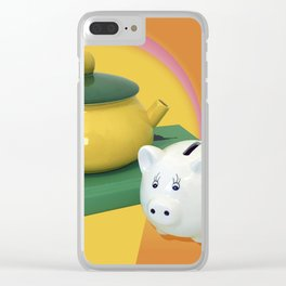 Pig and a Teapot Vintage Still Life Clear iPhone Case