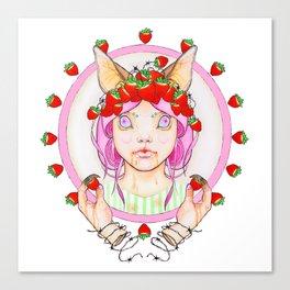 Strawberry Bat Cake Canvas Print