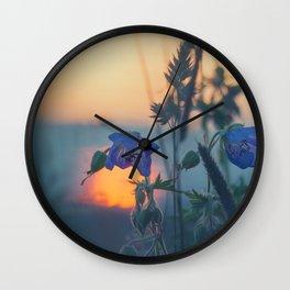 Sunset Through The Meadow Grass Wall Clock