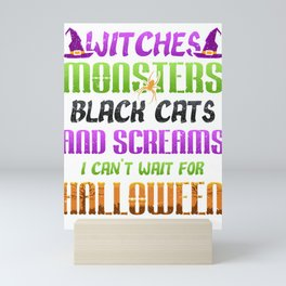 Witches Monsters Black Cats and Screams Halloween Mini Art Print
