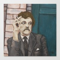 vonnegut Canvas Prints featuring Kurt Vonnegut by Melinda Hagman
