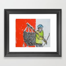 Seaweed Farmer - Island of Bali - Carrying the days Catch Framed Art Print