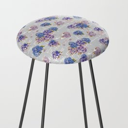 Hydrangeas and French Script with birds on gray background Counter Stool