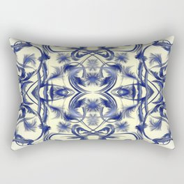 blue and white Digital pattern with circles and fractals artfully colored design for house Rectangular Pillow