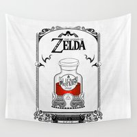 the legend of zelda Wall Tapestries featuring Zelda legend - Red potion  by Art & Be