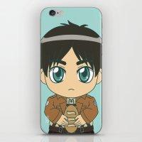shingeki no kyojin iPhone & iPod Skins featuring Shingeki no Kyojin - Chibi Eren Flats by Tenki Incorporated
