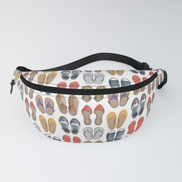 Hard choice // shoes on white background Fanny Pack