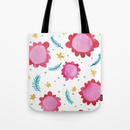 Painted Flowers red Tote Bag