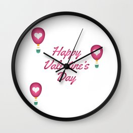 Happy Valentine's Day Love Heart Balloons Wall Clock
