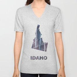 Idaho map outline Slate gray blurred wash drawing design Unisex V-Neck