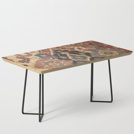 Geometric Leaves I // 18th Century Distressed Red Blue Green Colorful Ornate Accent Rug Pattern Coffee Table
