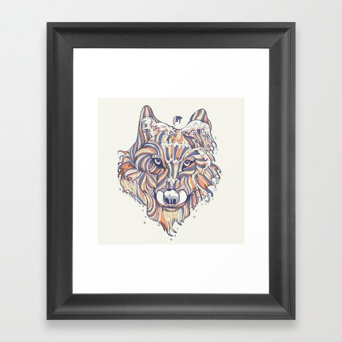 Wave Wolf Framed Art Print