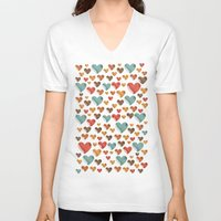 hearts V-neck T-shirts featuring Hearts by Eleaxart