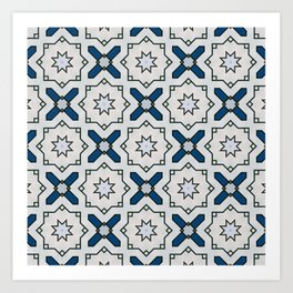 Geometric Floral Pattern In White Black And Blue Art Print