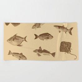 Vintage style fish of the ocean Beach Towel