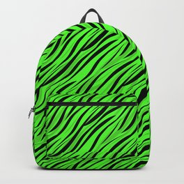 Abstract Black green textile Backpack