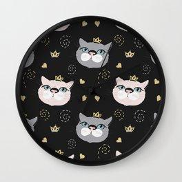 Cute cat princess face. Wall Clock
