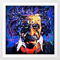 einstein Art Prints featuring Einstein by FEENNX