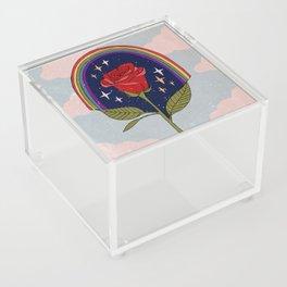 Single red rose Acrylic Box