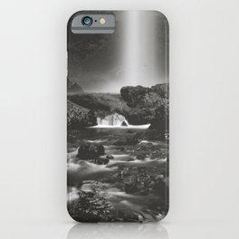 Latourell Falls Waterfall II - Black and White iPhone Case
