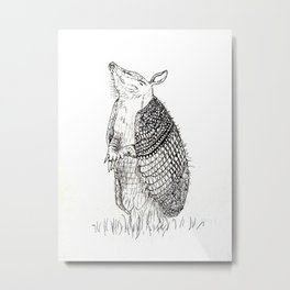The Happy Armadillo Metal Print