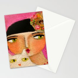 White Cat and Flapper girl pretty painting by Tascha Stationery Cards