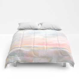 Overwhelm - Pink and Gray Pastel Seascape Comforters