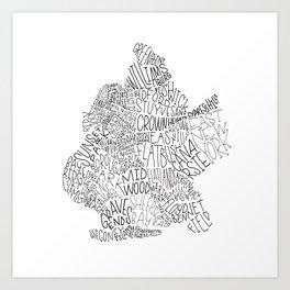 Brooklyn - Hand Lettered Map Art Print