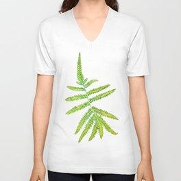 watercolor fern leaf Unisex V-Neck