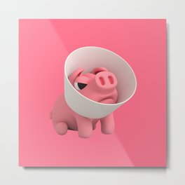 Rosa the Pig and the Cone of Shame Metal Print