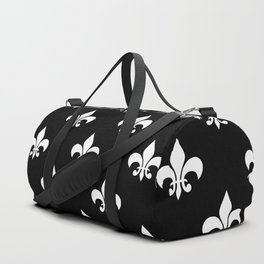 White royal lilies on a black background Duffle Bag