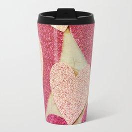Vintage Pink Glitter Hearts Travel Mug