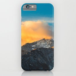 Last light on mountains before sunset iPhone Case