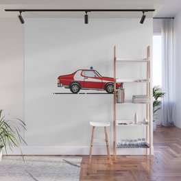 Starsky 7 Hutch Ford Torino (White background) Wall Mural